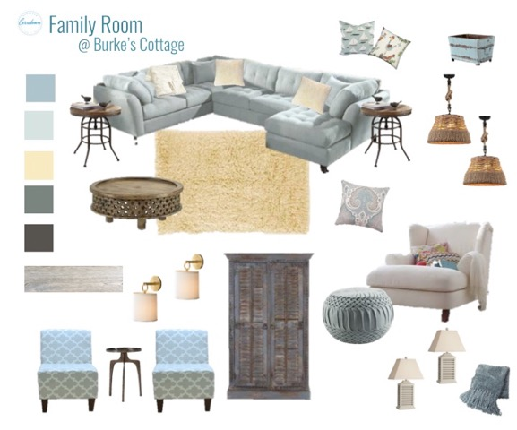 mood board, cottage family room, living room