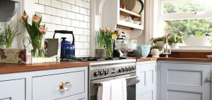 stock image kitchen with wood block counter