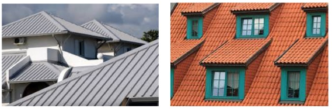 roof pitches of different colours
