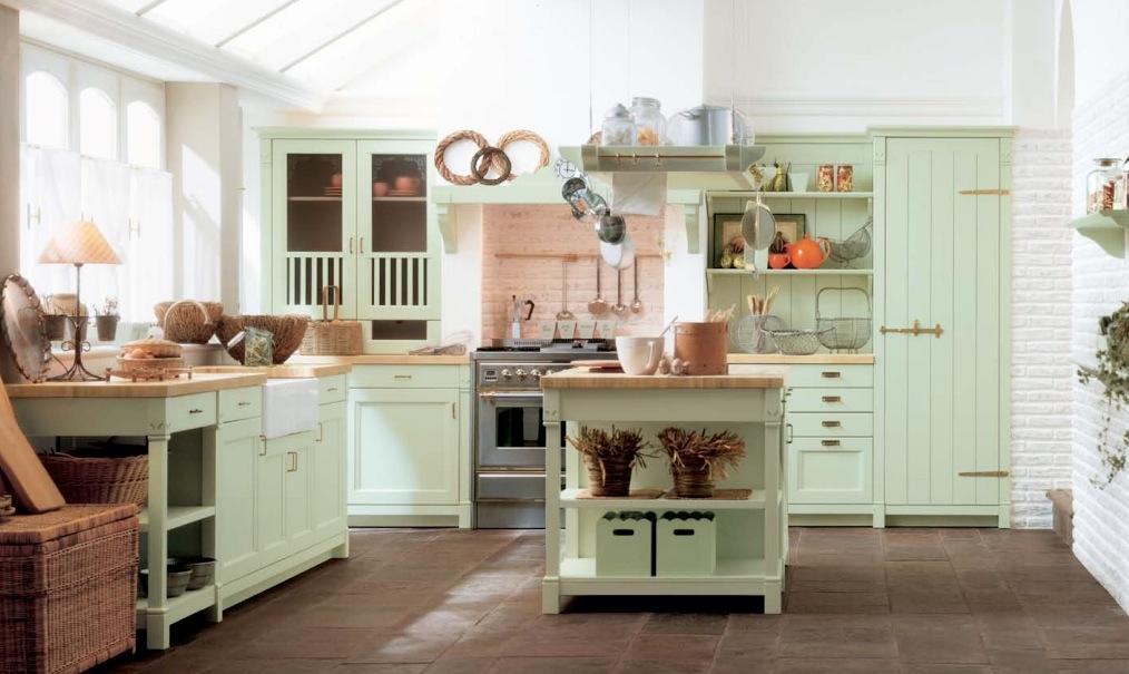 stock photo of light green kitchen