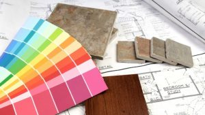 flat lay tile and paint chips