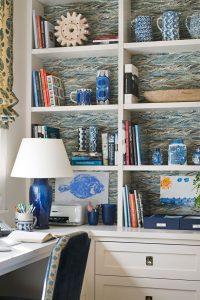 wallpaper on back of builtin shelves