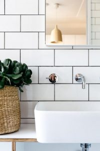 Contrasting grout with white tile