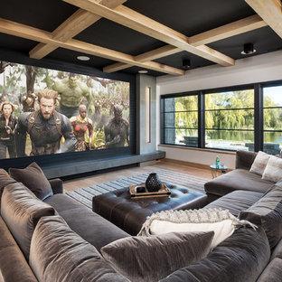 big screen in basement